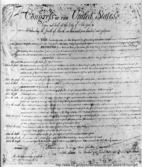 picture of the Bill of Rights from the library of congress.gov